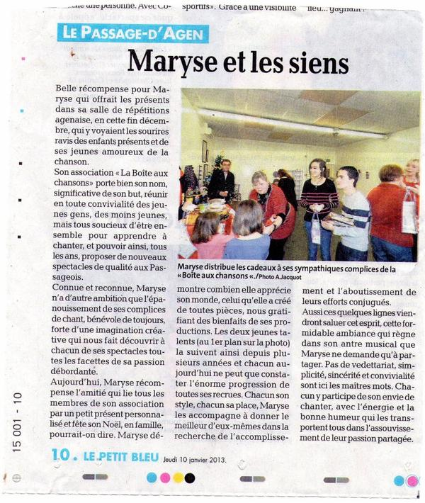 article de presse arbre de noel de l'association le 22 dcembre 2012